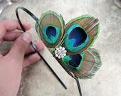 Peacock and Rhinestone headband