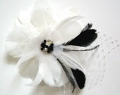 Feather Flower bridal clip or comb with black accents crystals rhinestone