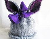 Hand Knit Bunny Hat Baby Rabbit, Newborn Size Girl, Grey Purple Big Bow - Ready to Ship