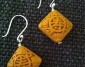 Yellow Cinnebar Resin Earrings