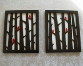 Wood Wall Decor Two Piece Birds in Trees Art Set