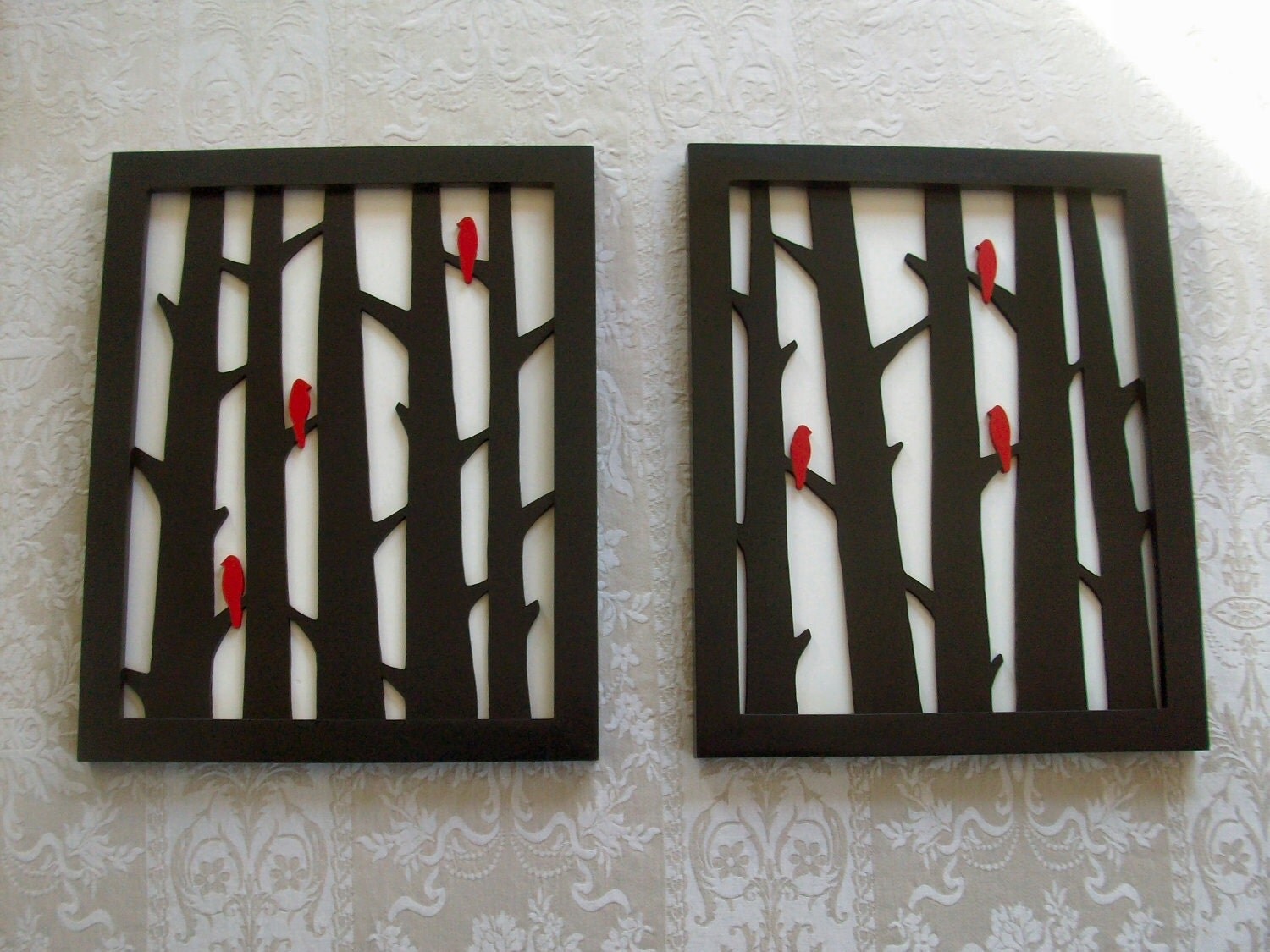 Items Similar To Wood Wall Decor Two Piece Birds In Trees