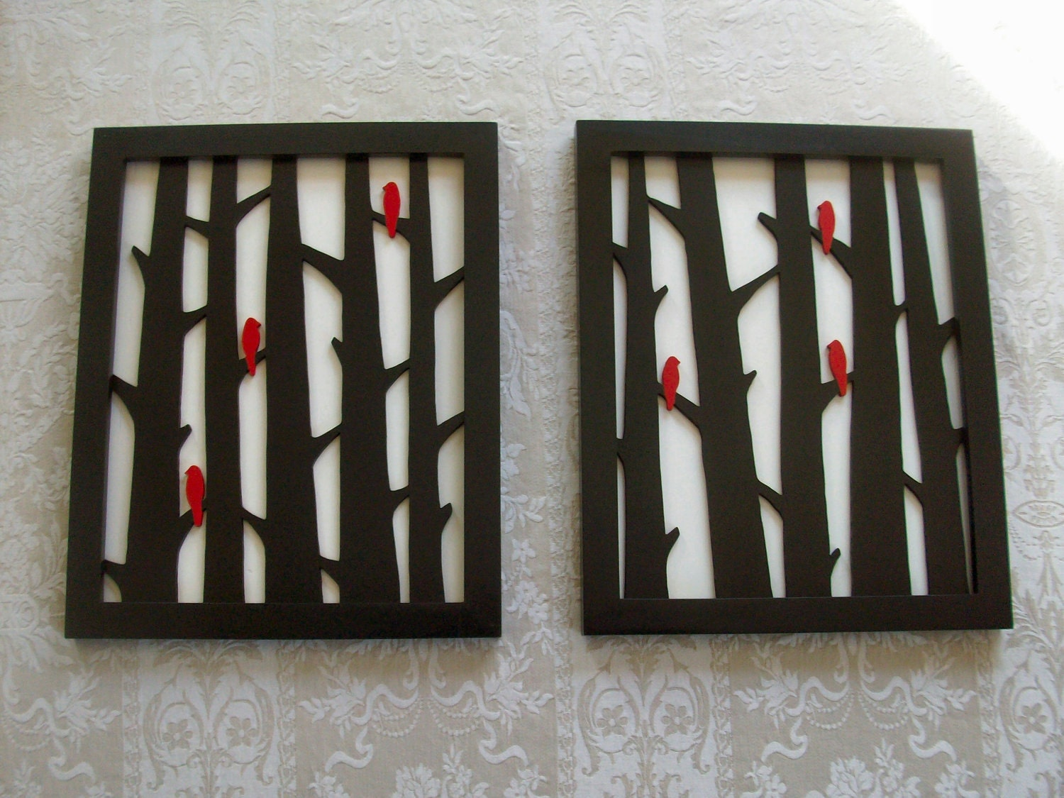 Wood Wall Decor Two Piece Birds in Trees Art Set by elwoodworks