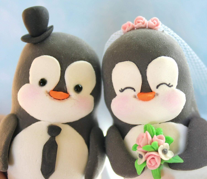 Custom wedding cake toppers penguin groom panda by PassionArte