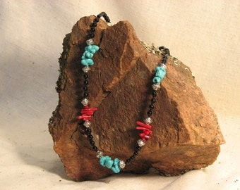 Turquoise Nugget and Red Stick Coral Necklace