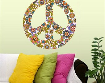 Peace Sign Brights Repositionable Wall Decals