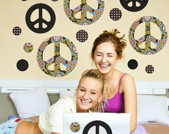 Peace Sign Wall Decals Black Brights Multi Repositionable