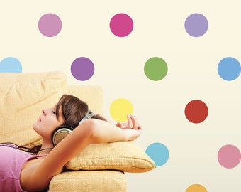 Sixteen Colors Polka Dot Wall Decals, Removable and Reusable