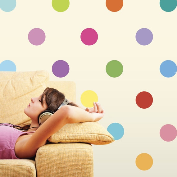 Sixteen Colors Polka Dot Wall Decals, Removable and Reusable Wall Decal Stickers