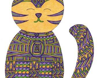 Cat Card- Greeting Card- Cat Art Cards- Zen Cat 5x7 Card by beckyzimm