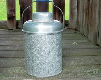 Vintage Aluminum Picnic Jug Thermos Mason Jar Carrier Holder Insulated Farmhouse Decor