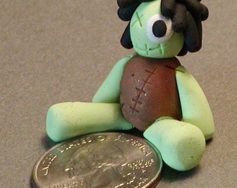 Happy Little Zombie Polymer Clay Rag Doll