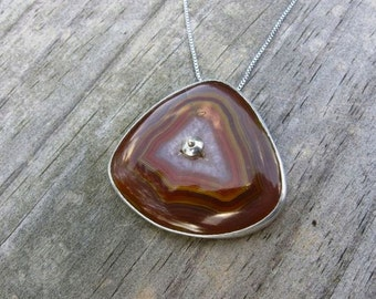 Red Agate Necklace- Silver, Laguna Agate, Metalwork