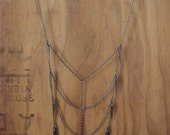 Gunmetal Spiked Rib Necklace