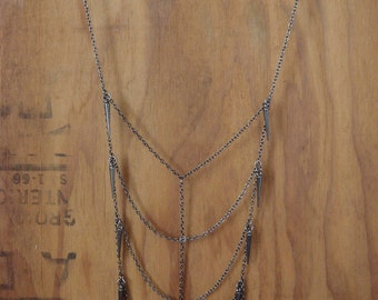 Gunmetal Spiked Rib Necklace