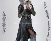 Wool COAT, Felt Wool, Leather, Chainmaille Eco Designer Runway /Genghis Khan/ Collection