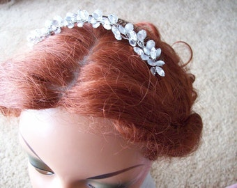 Bridal Frosted marquis rhinestone stone sterling comb