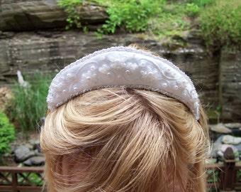 Satin tiara with bead work embroidered white