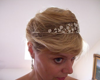 Elegant  tiara sterling silver wire scrolls with crystal  rhinestone flowers wedding formal prom