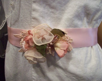 Pink Bridal sash belt victorian style