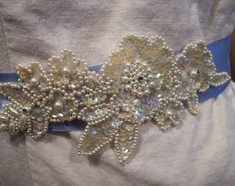 Bridal sash belt Something blue ornate beaded lace