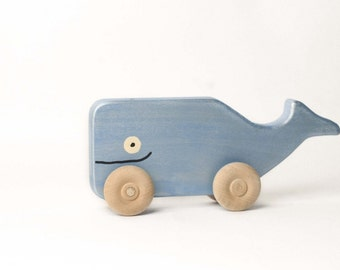 Whale Rollimal - a baby - toddler wooden toy animal
