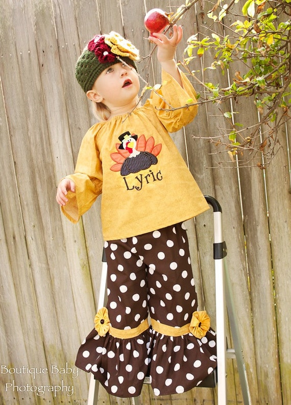 Gobble Gobble Boutique Thanksgiving Peasant Top and Ruffle Pants - Sizes 12 mos - 6yr