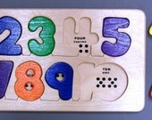 Numbers 1 to10 Bilingual Wooden puzzle with English, Spanish and counting dots, in stock ready to ship