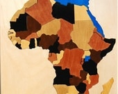 Chunky piece wooden Map Puzzle of Africa - an educational and fun toy - learn countries and capitals - Gift for adults, geography students.