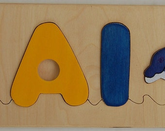 Dolphin with child's name - Wooden Name Puzzle - cool gift for baby boys or girls - an educational toy that is fun for kids