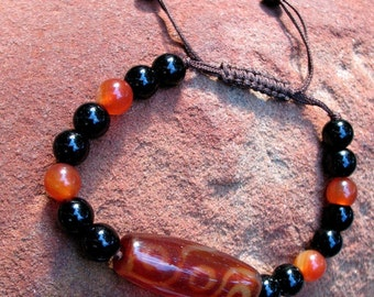 Vintage Tribal/Boho  Orange Carnelian & Black Onyx Stone Custom Bracelet