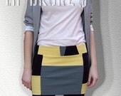 Short Skirt in Yellow / Black / Gray