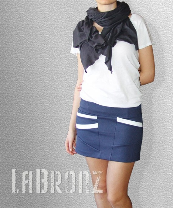Skirt Bottoms Skirts Short Asymmetrical Light Paste Navy Skirt with Diagonal Pockets