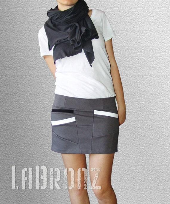 Bottoms Skirts Short Asymmetrical Gray Skirt with Diagonal Pockets