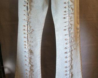 Ladies Punk Jeans w Studs, Saftey Pins & Swarovski Rhinestones   Ladies size 7