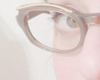 Cat Eye Glasses Cateye Eyeglasses NOS Vintage Mink Cat Eye Frames Pearly Taupe Winged Golden Brow Horn Rimmed Eye or Sun Glasses, NOS