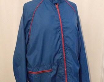 Vintage 70s Blue Windbreaker, Lightweight Track Jacket, Packable Rain Coat for Hiking, Biking on sale
