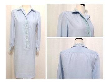 Vintage 60s New Look Shirt Dress/ Shift Dress / Sheath Cocktail Dress / Crochet Details / Pale Blue on sale