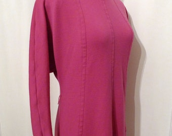 Vintage 50s Sweater Dress /  Pink Jersey Knit Day Dress / Gorgeously Joan / Mad Men / Women