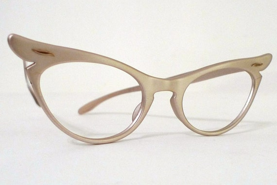 Small Frame Cateye Glasses : Extreme Winged Blush Aluminum Cat Eye Frame. by BibbysRocket