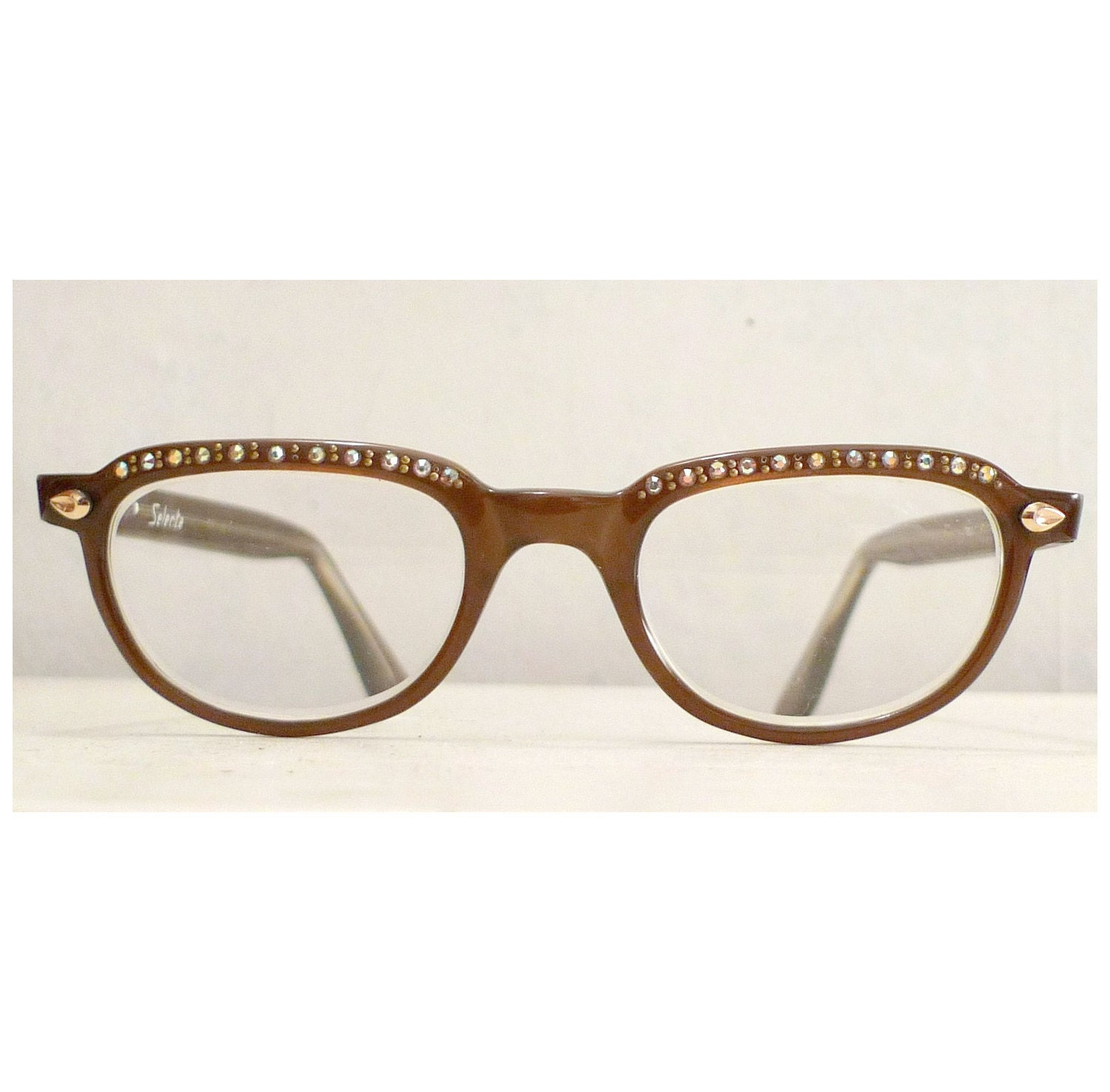 Vintage Rhinestones Brown Cat Eye Glasses Frame Embellished