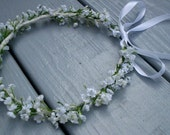White little girl flower crown Babys Breath Halo Bridal headpiece Baptism silk floral hair wreath baby headband wedding accessories garland