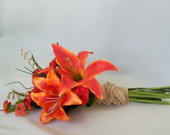 Destination Wedding Flowers Orange Tiger Lily Bridal Bouquet silk artificial Lillies AmoreBride tropical bridesmaid bokay party accessories