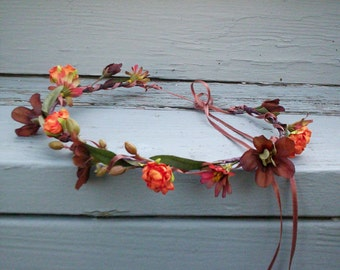Bridal party Flower Crown Autumn Orange brown Rustic Chic Woodland hair wreath fall headpiece -Ava- barn Wedding accesories Headwreath halo