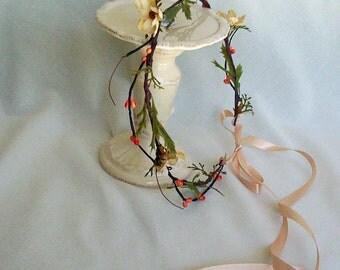 Floral crown Wedding Hair wreath Bridal accessories rustic Woodland flower girl halo -Jackie- fairy summer spring orange fall bridesmaid