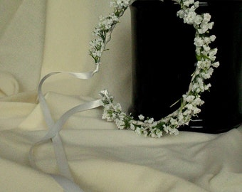 Baby photo prop floral headband white Silk Babys Breath Baptism Halo Wedding hair wreath accessories Flower Crown