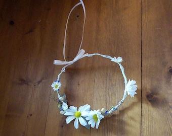 Barn Wedding hair accessories Daisy headband flower power -Dixie- bridal headpiece AmoreBride blue flower girl halo silk Flower Crown Hippie