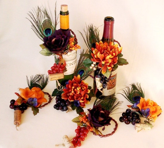 Peacock Wedding Centerpieces Ideas: Orange Peacock Wedding Centerpiece Unique Set Of 3 Wine Bottle
