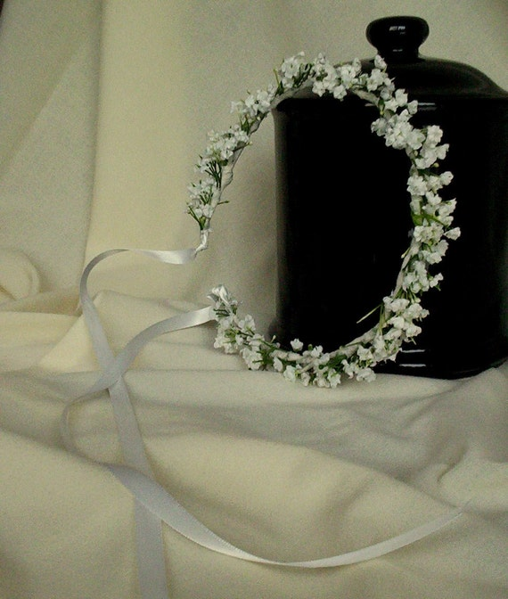 White Wedding Day hair accessories Flower Crown Babys Breath halo Bridal headpiece artificial wreath garland handmade Blessingway Handfast