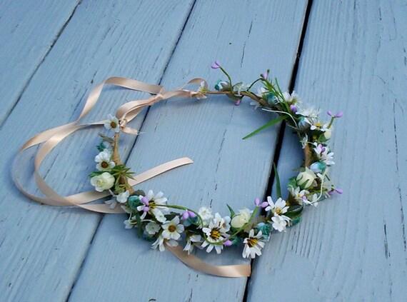 Hippie Flower Crown Daisies Festival hair Wreath Lavender -Brianna- Wedding Bridal Accessories Senior Pics Photo Prop daisy blue aqua teal